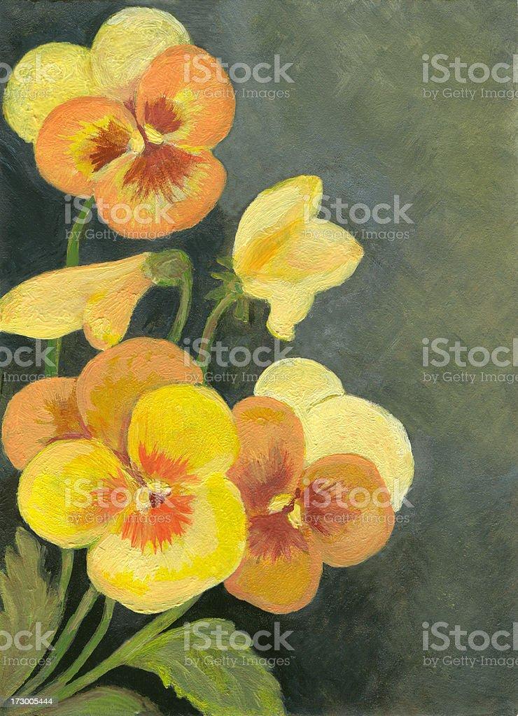 Yellow Pansies Arrangement royalty-free stock vector art
