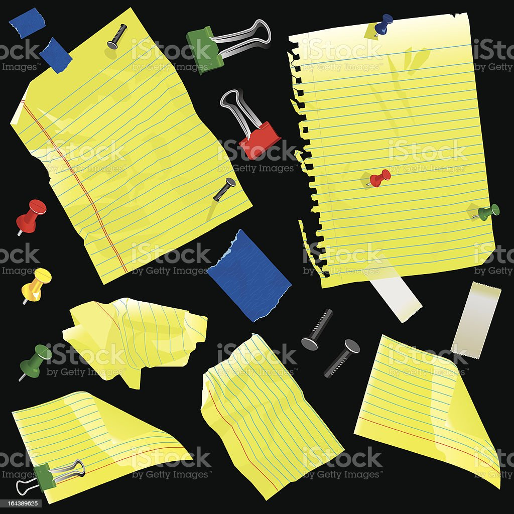 Yellow paper, pins, tape and clips vector art illustration