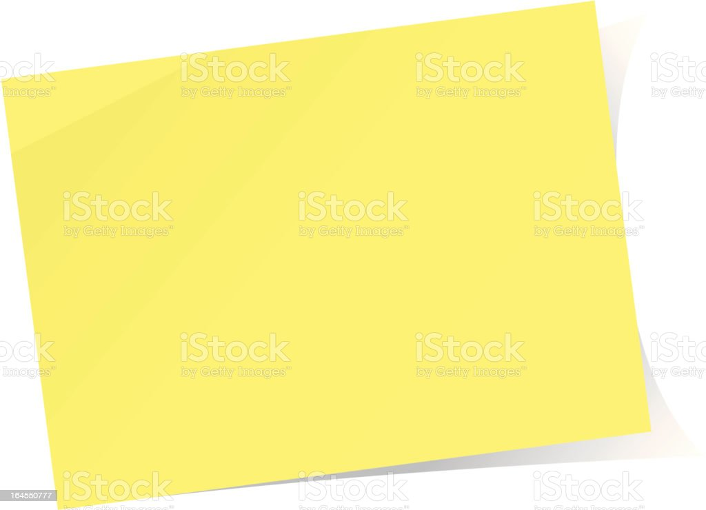 Yellow post-it note royalty-free stock vector art