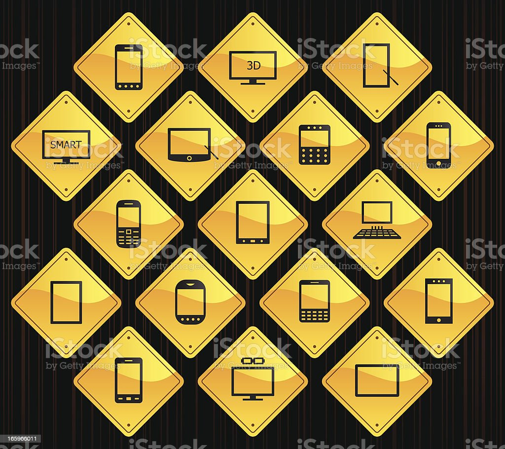Yellow Road Signs - Smart Devices royalty-free stock vector art