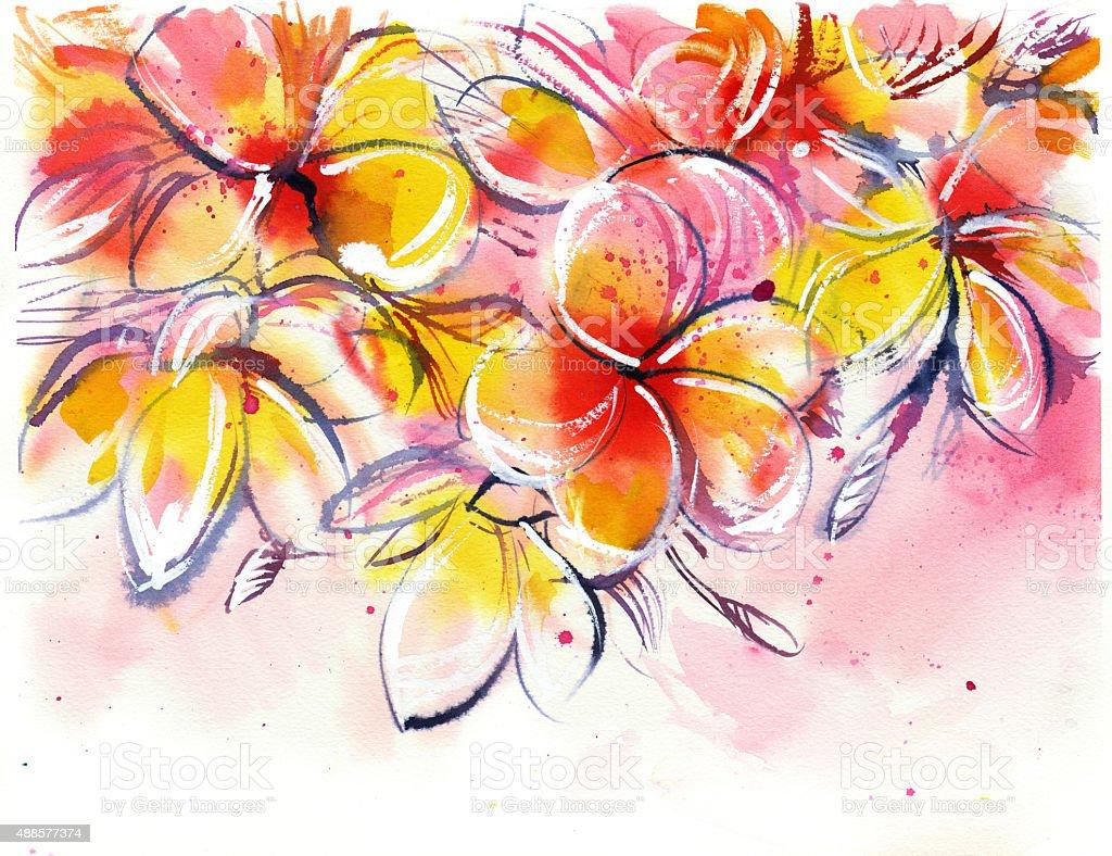 yellow rose bush frangipani on a white background vector art illustration