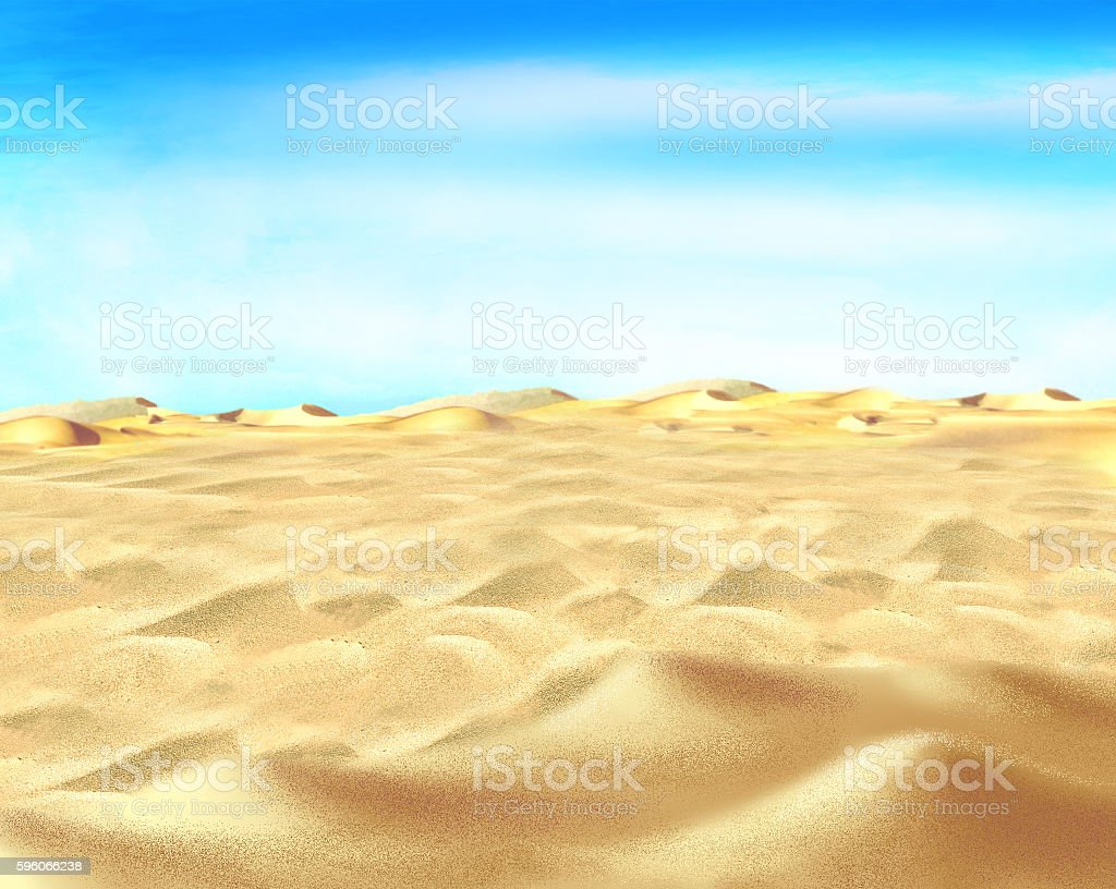 Yellow Sand under Blue Sky in a Desert vector art illustration