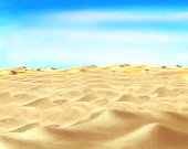 Yellow Sand under Blue Sky in a Desert