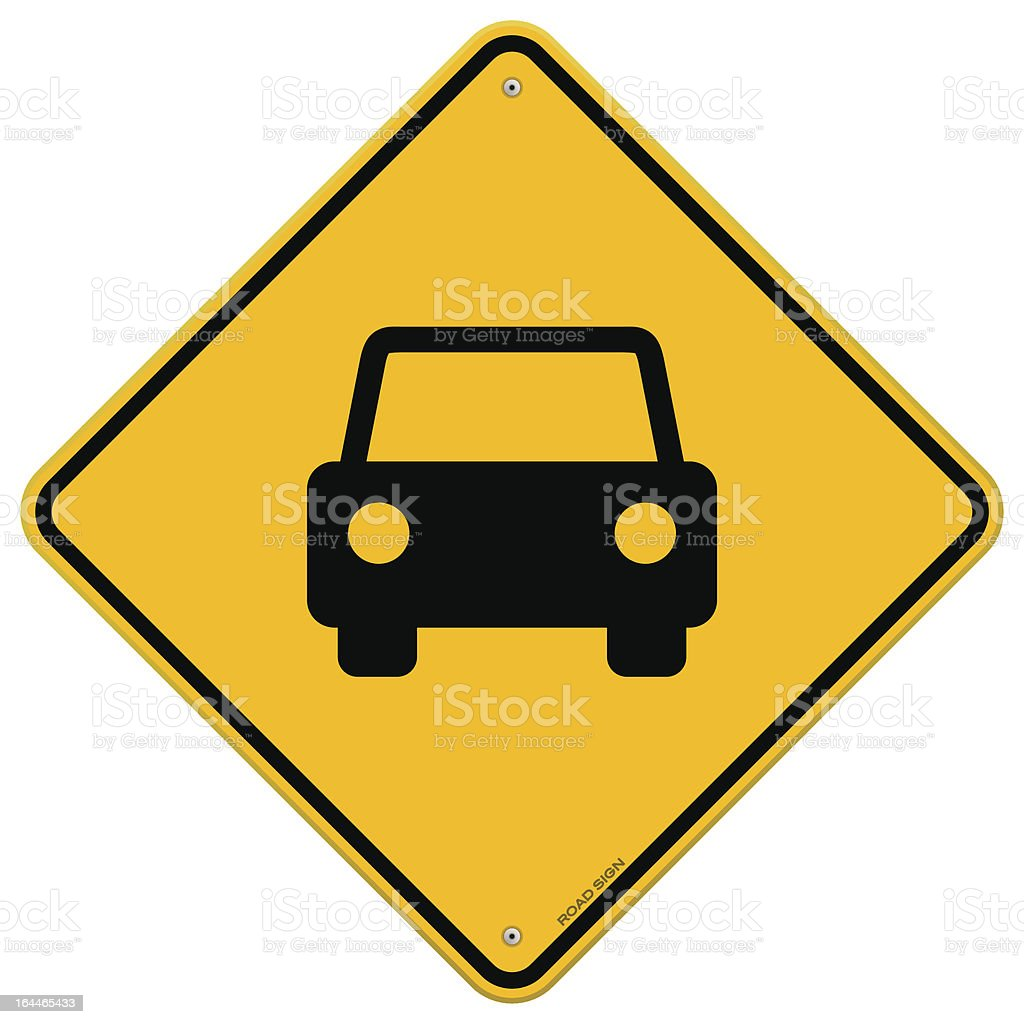 Yellow Sign with Car royalty-free stock vector art