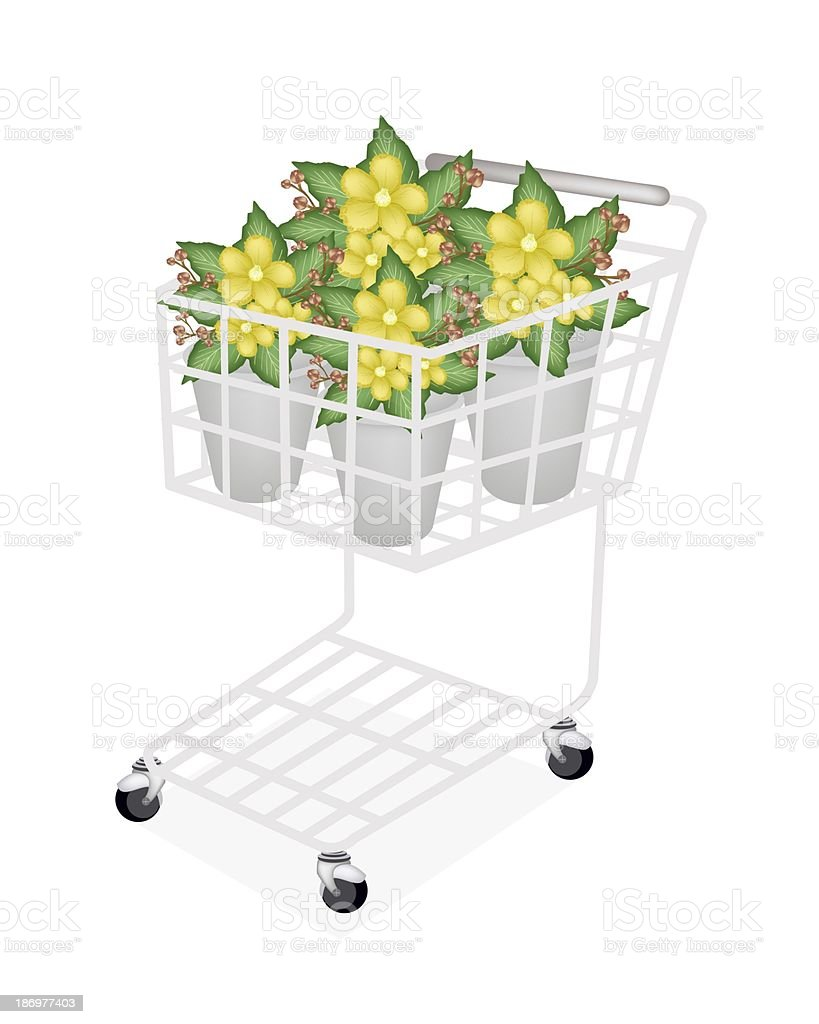 Yellow Simpor Flowers in A Shopping Cart vector art illustration