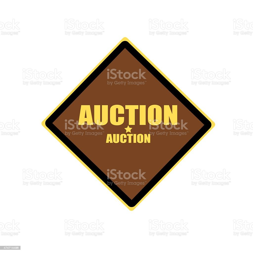 AUCTION yellow stamp text on brown background vector art illustration