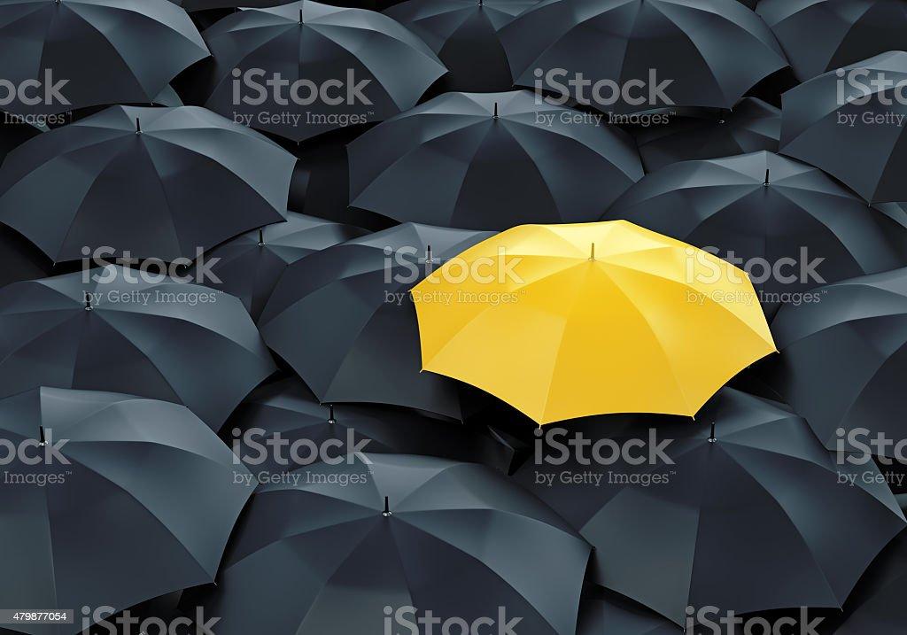 Yellow umbrella among dark ones vector art illustration