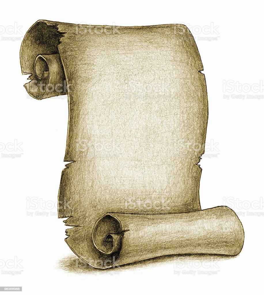 Yellowed Ancient Scroll (pencil drawing) vector art illustration