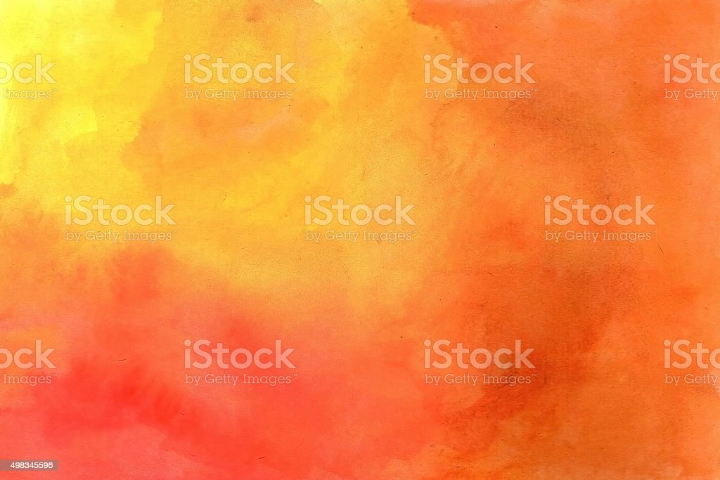Yellow-red grunge in watercolor. stock photo