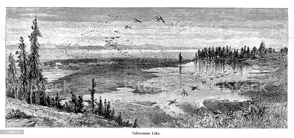 Yellowstone Lake, USA royalty-free stock vector art