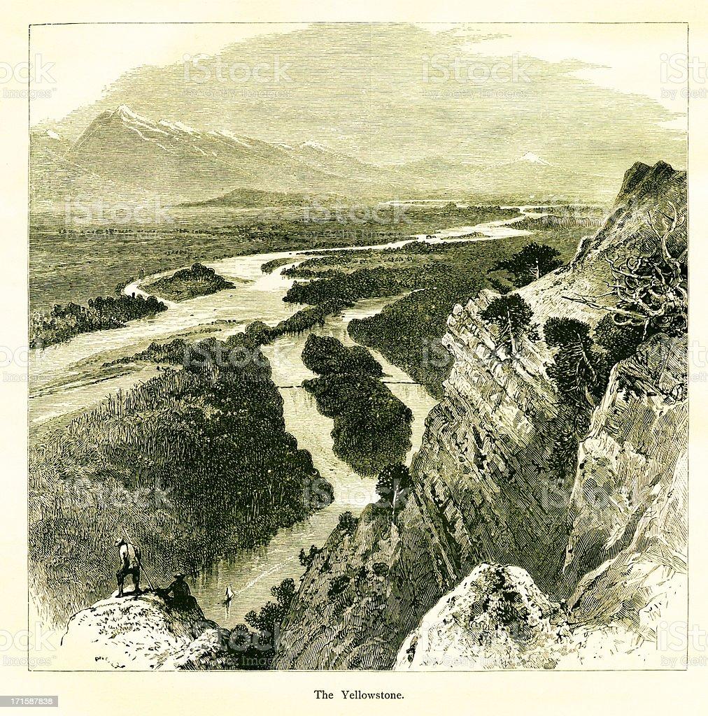 Yellowstone National Park, USA   Historic American Illustrations royalty-free stock vector art