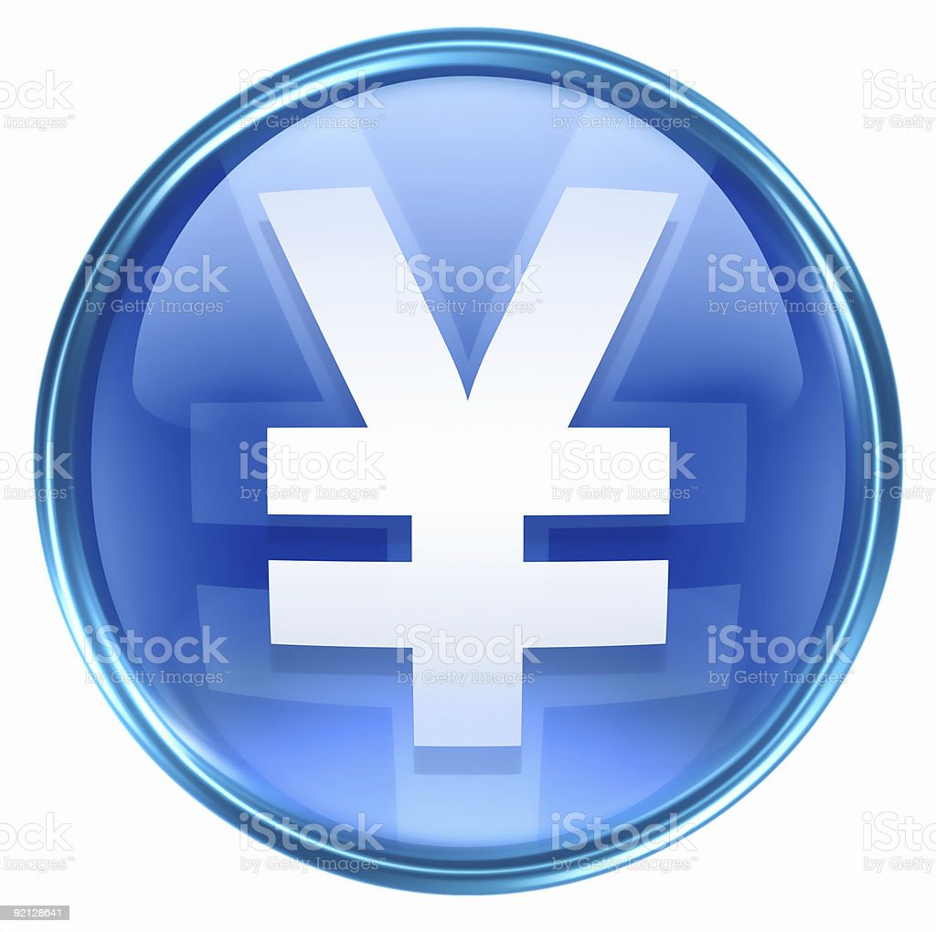 Yen icon blue, isolated on white background royalty-free stock vector art