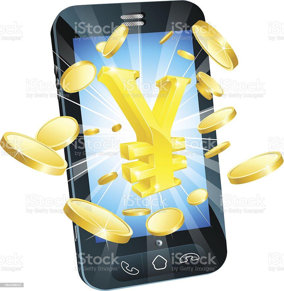 Yen money phone concept royalty-free stock vector art