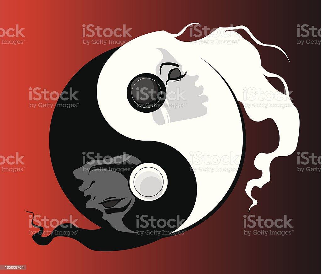 Yin & Yan (lovers) royalty-free stock vector art