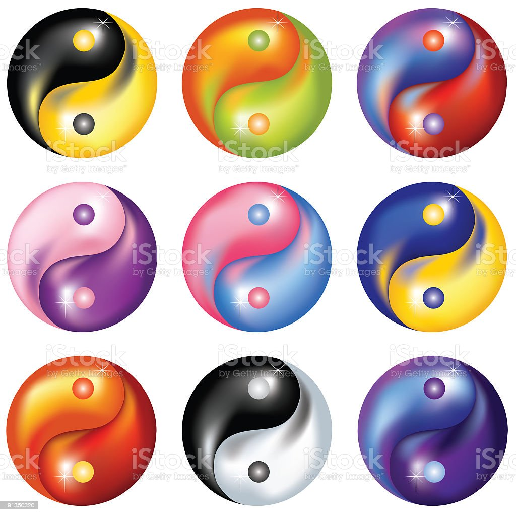 Yin-Yang Symbols royalty-free stock vector art