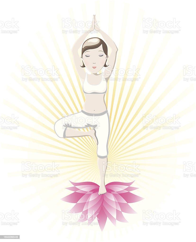 Yoga asana- Tree Pose (Vrksasana) royalty-free stock vector art