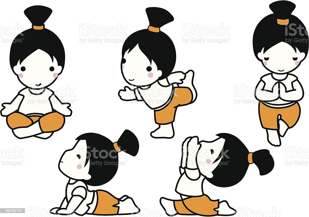Yoga baby exercises vector art illustration