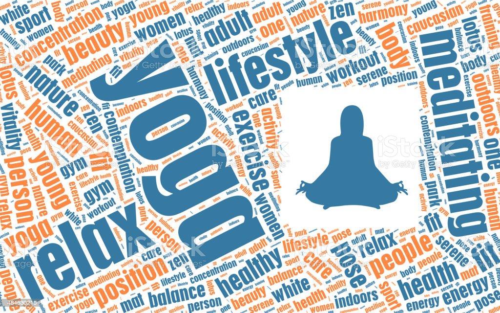 Yoga Concept in Tag Cloud vector art illustration