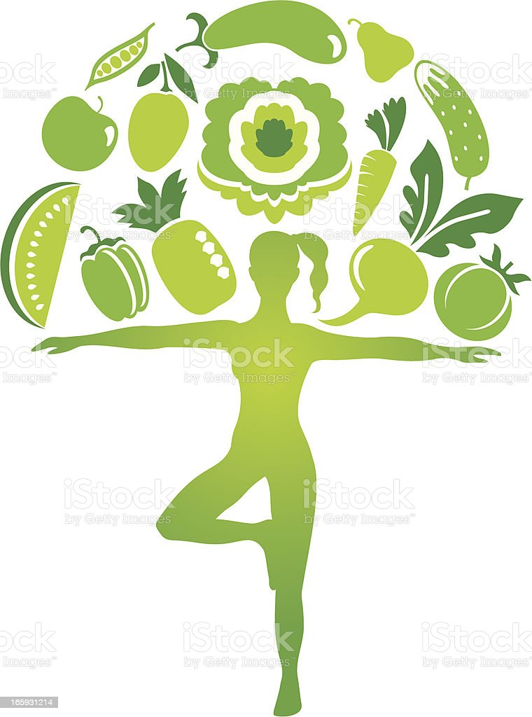 Yoga diet vector art illustration