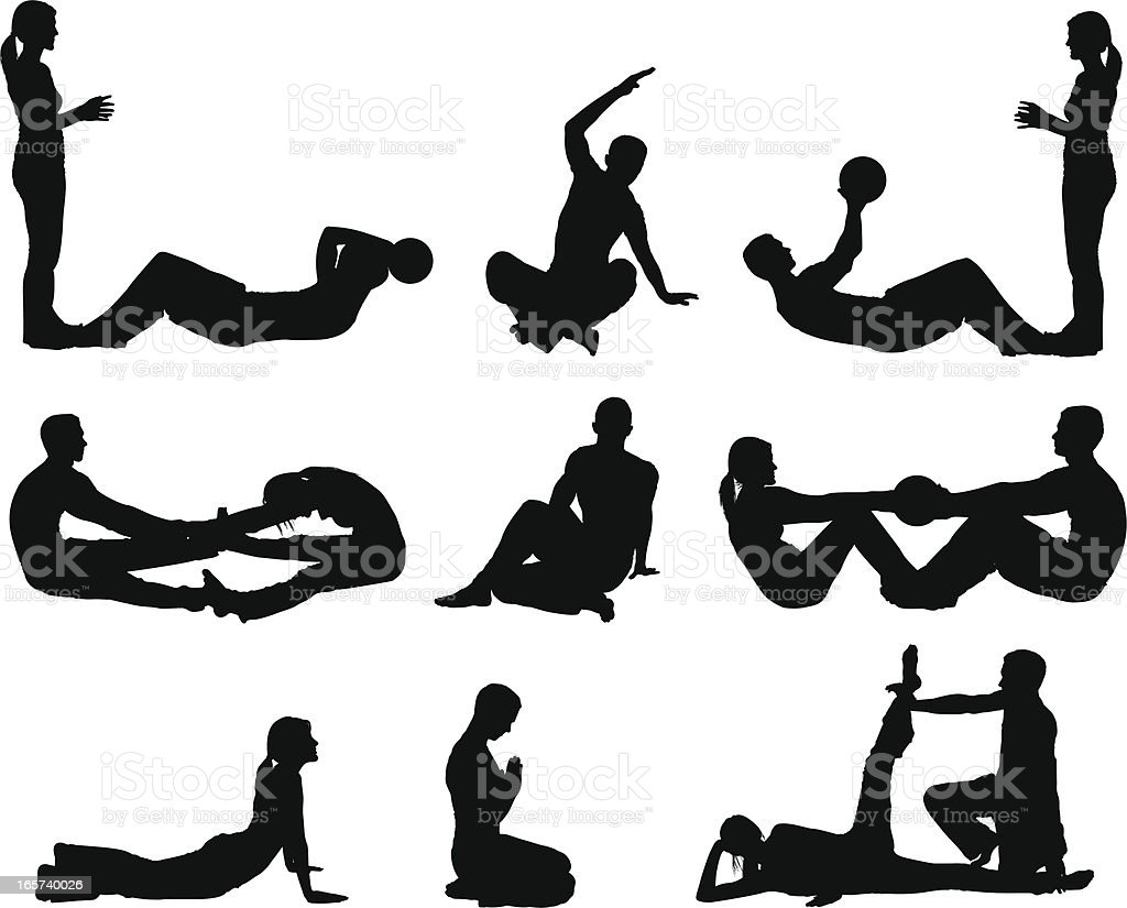 Yoga pilates workout men and women royalty-free stock vector art