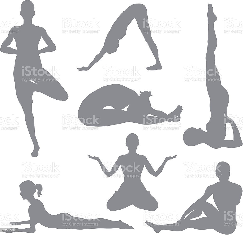 Yoga postures royalty-free stock vector art