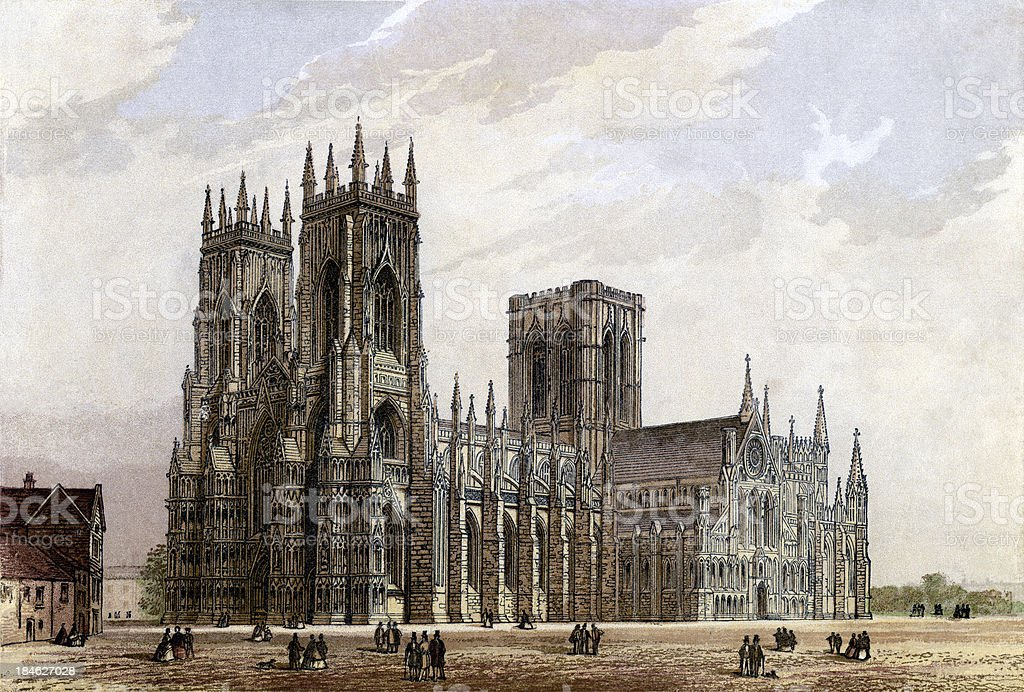 York Minster, Yorkshire, 1880 (engraved illustration) vector art illustration