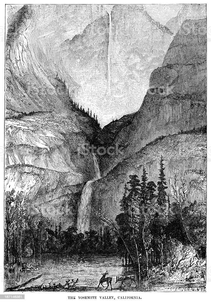 Yosemite Valley, California royalty-free stock vector art