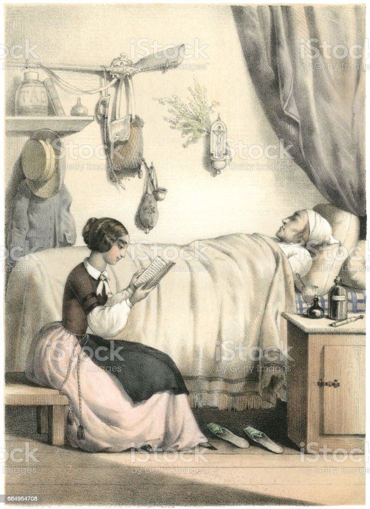 Young 19th century French woman reading to an ill man vector art illustration