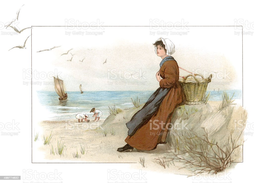 Young 19th century woman with a basket on a beach vector art illustration