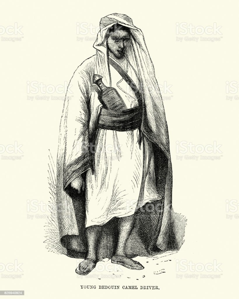 Young Bedouin Camel Driver, 19th Century vector art illustration