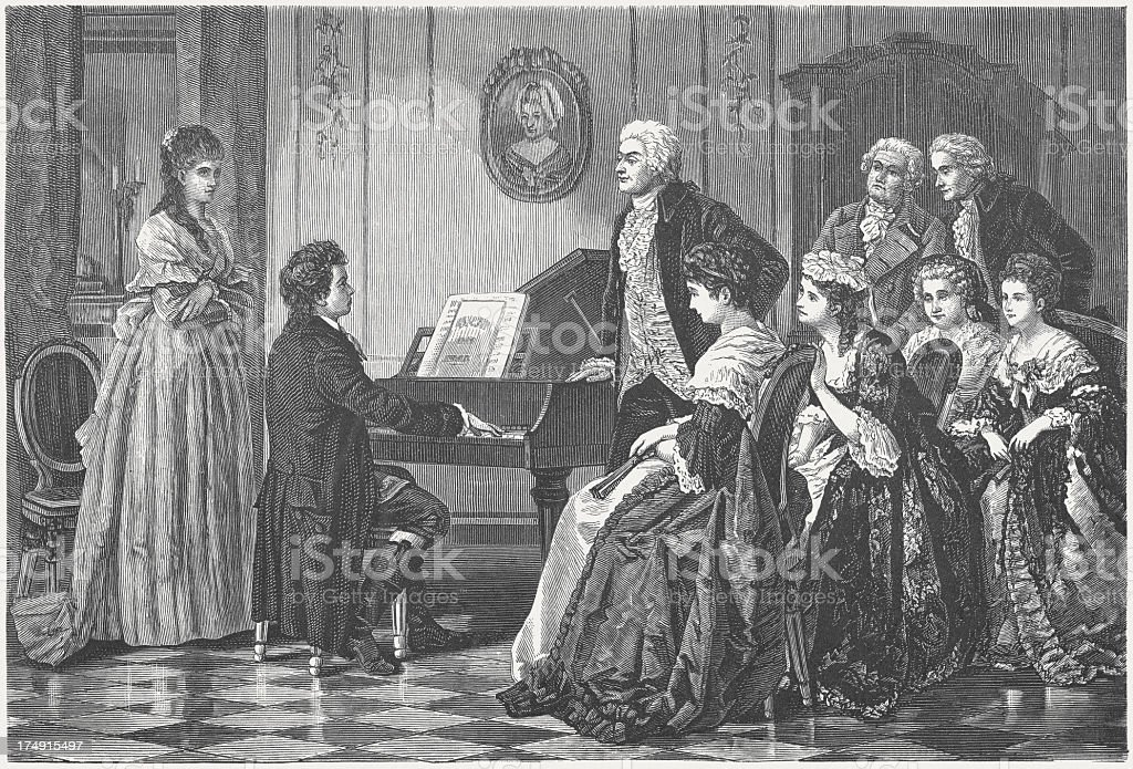 Young Beethoven playing before Mozart vector art illustration