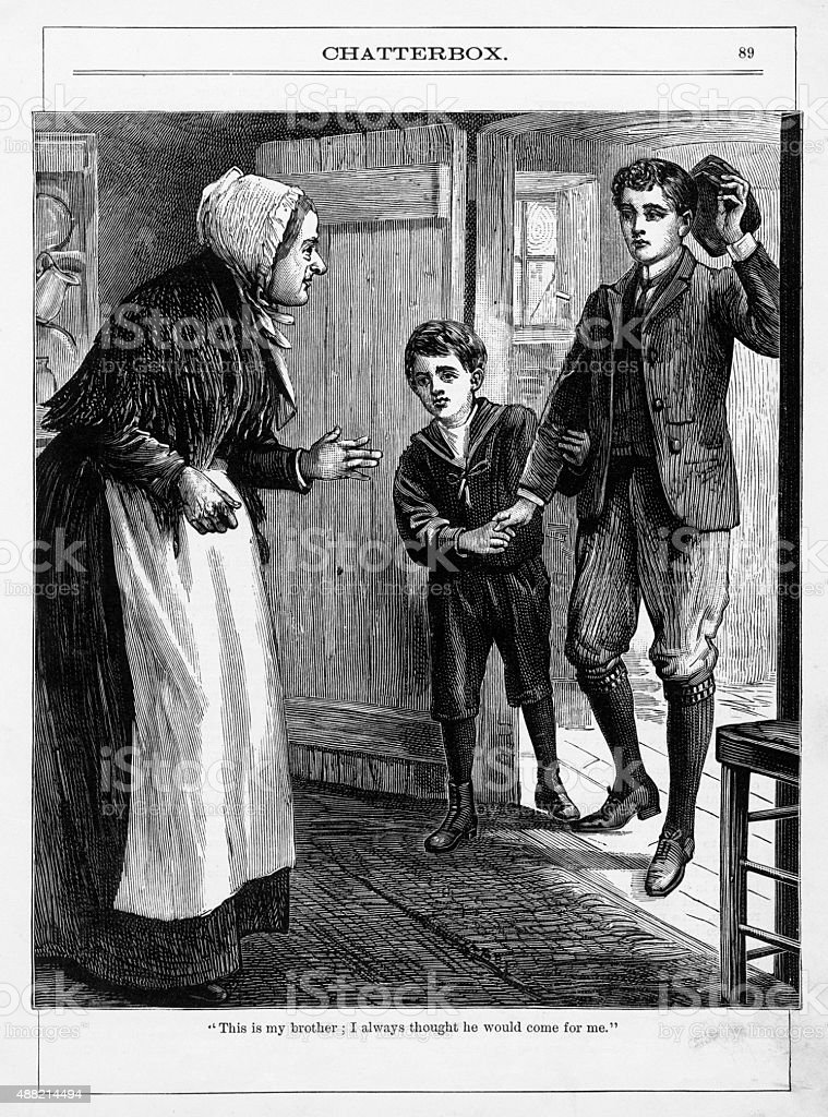 Young Boy at an Orphanage Victorian Engraving vector art illustration