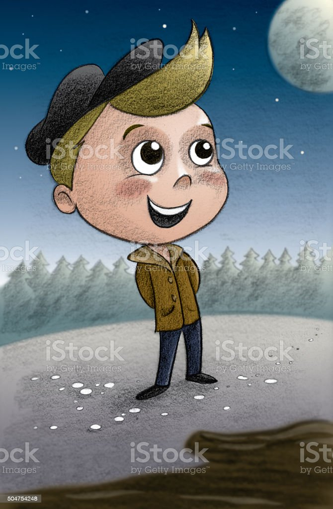 Young boy in nature stock photo