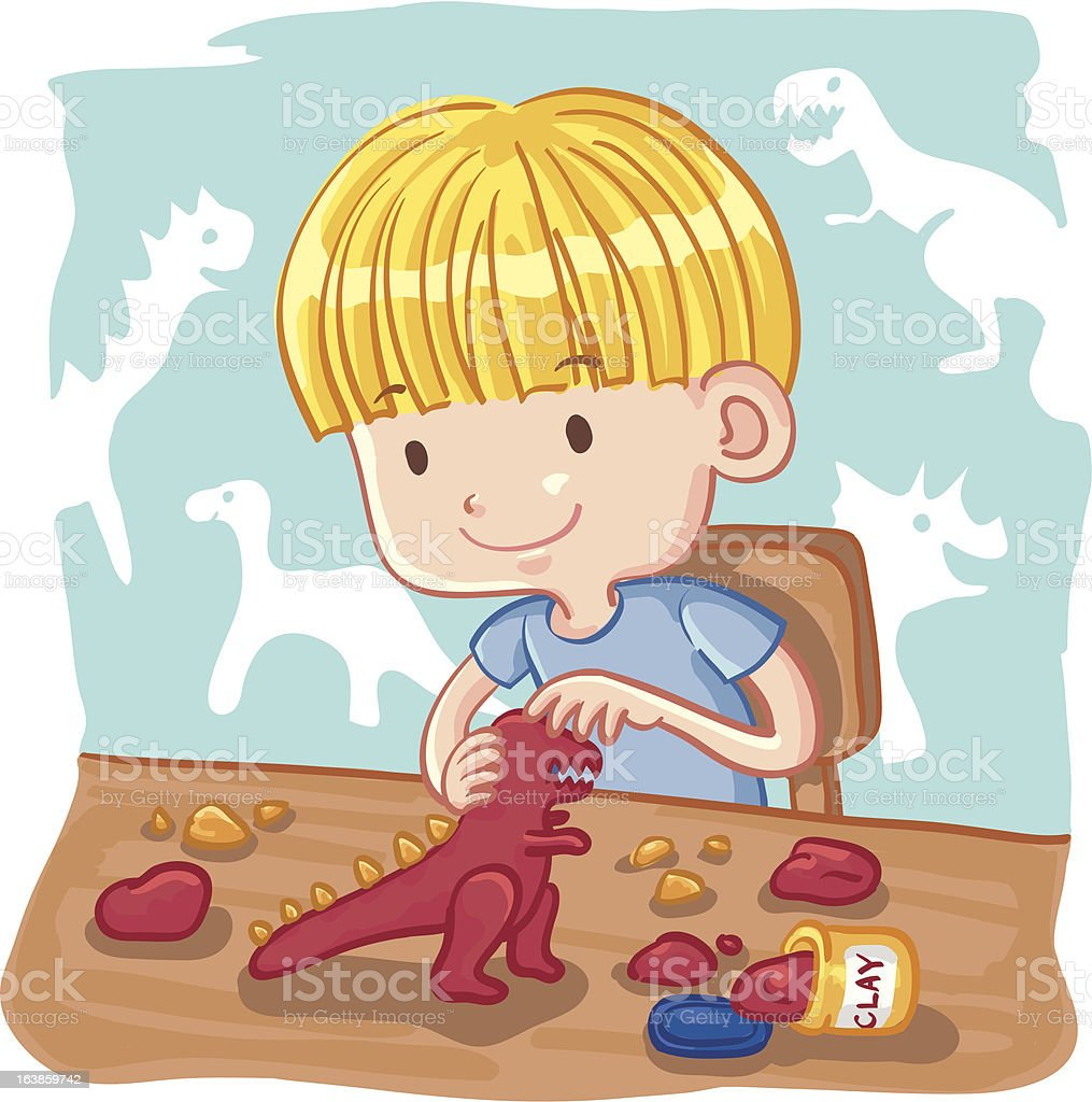 Young Boy Molding a Dinosaur with Clay royalty-free stock vector art