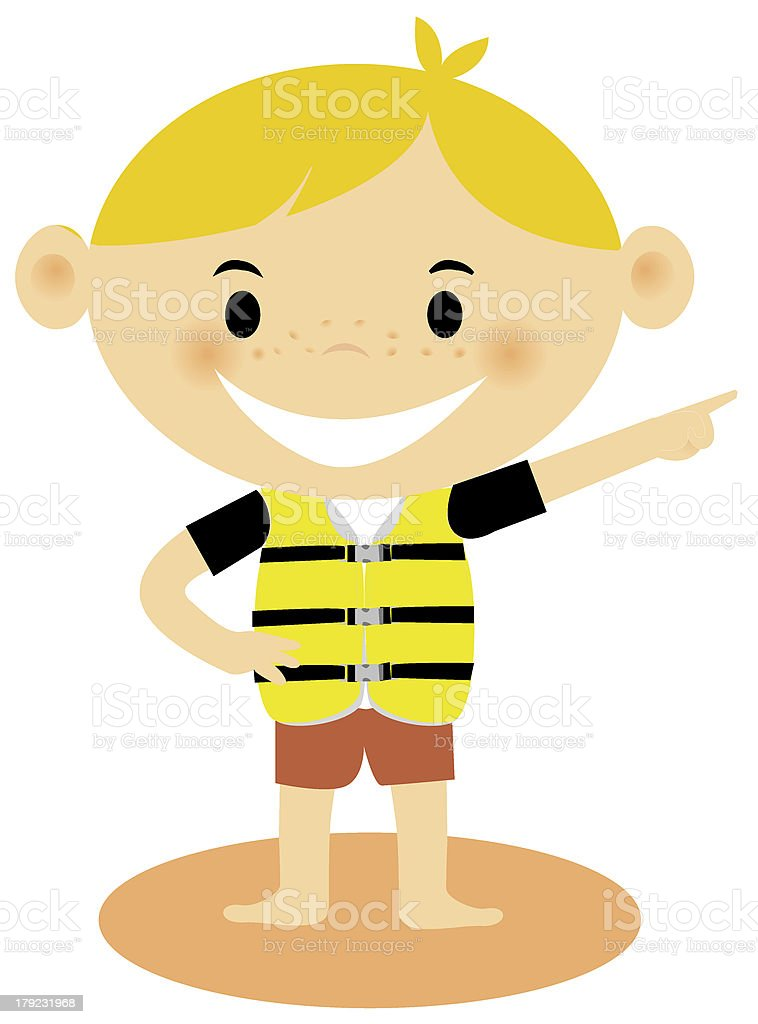 young boy wearing a life jacket vector art illustration