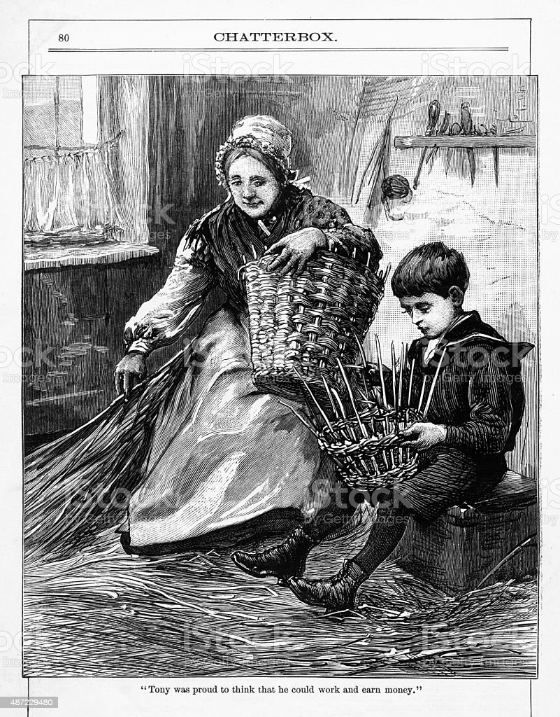 Young Boy with an Old Woman Weaving Baskets Victorian Engraving vector art illustration