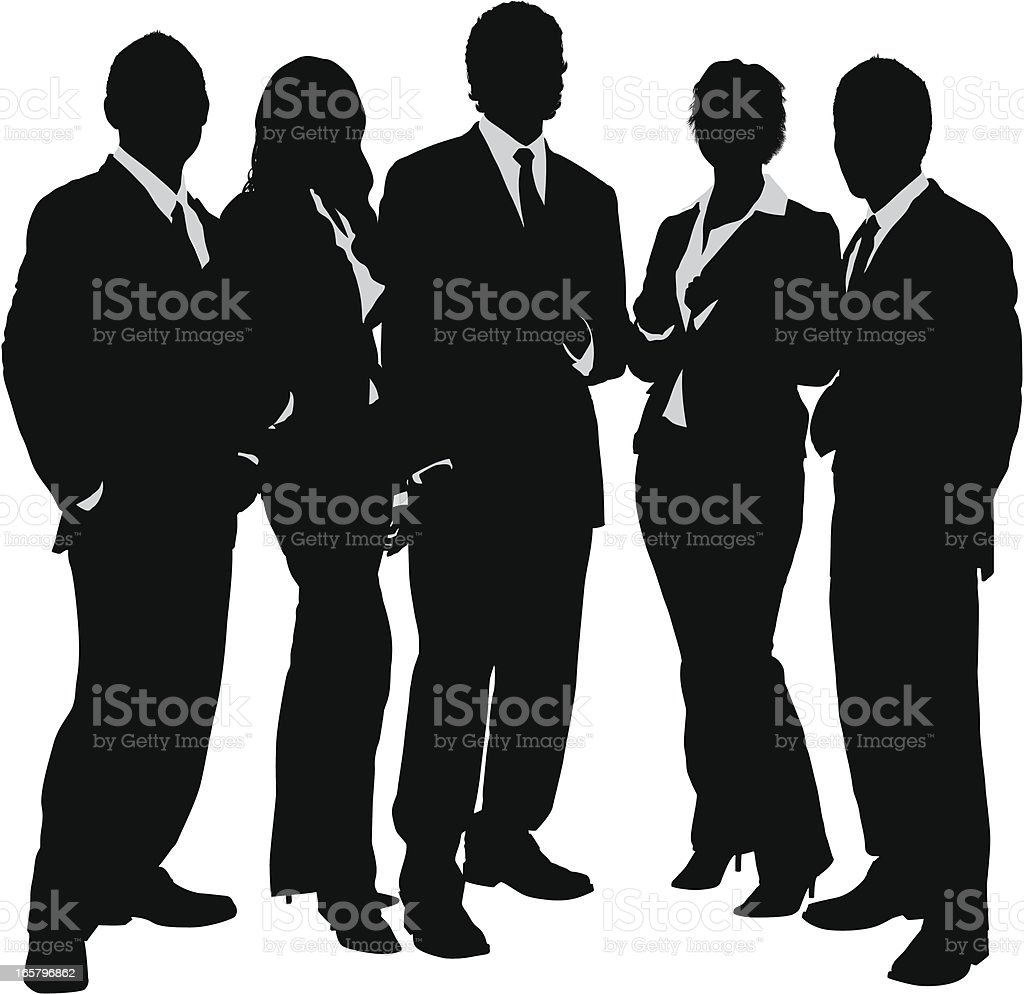Young business group silhouette vector art illustration