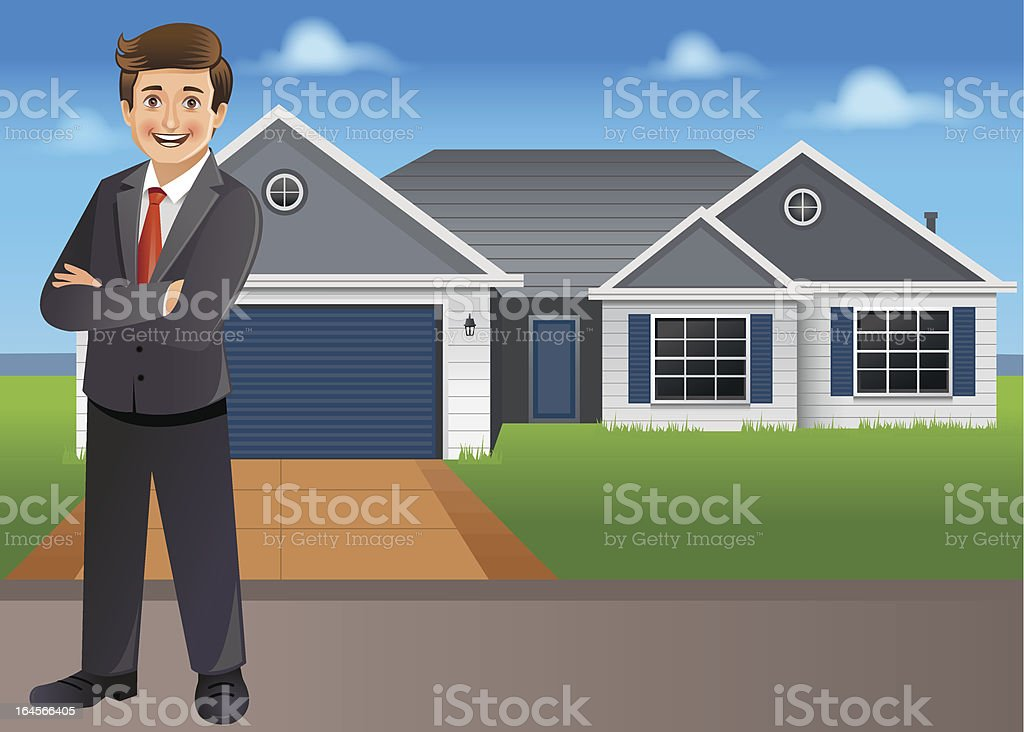 Young businessman/ property dealer standing in front of new house vector art illustration