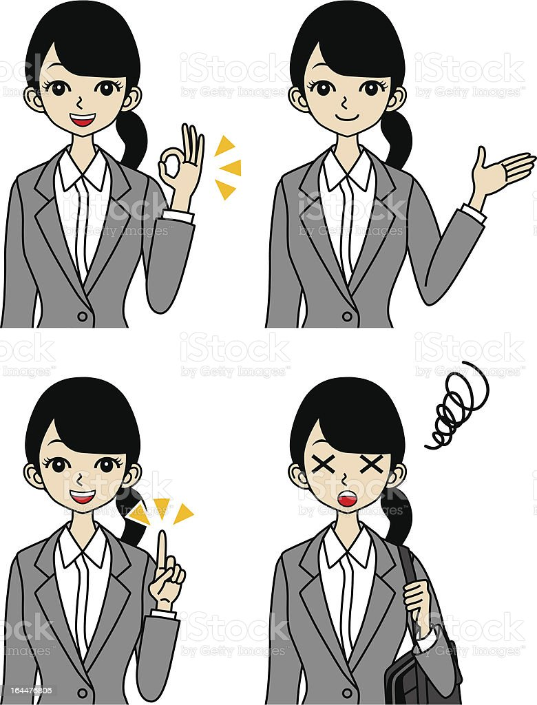 Young Businesswoman, Face set, guide and trouble royalty-free stock vector art
