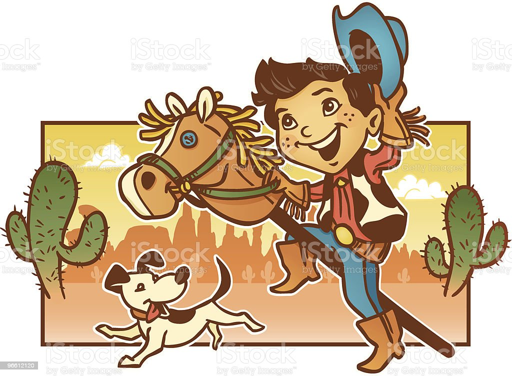 Young Child Playing Pretend Cowboy with His Dog vector art illustration
