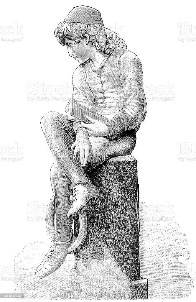 Young Columbus vector art illustration