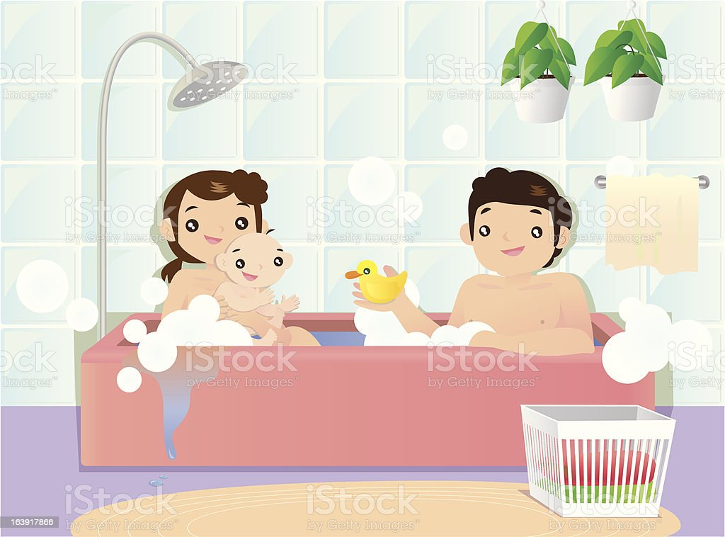 Young couple bathing with their little child royalty-free stock vector art