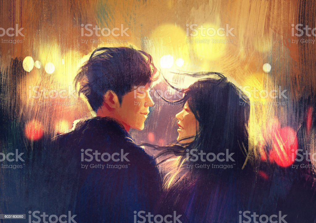 young couple in love outdoor,illustration vector art illustration