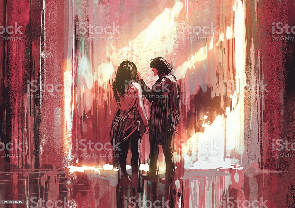 young couple in love outdoor,painting vector art illustration