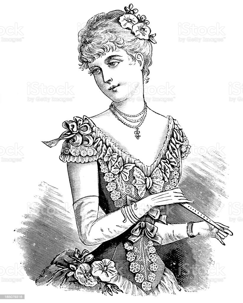 Young Fashionable Woman - Victorian Engraving vector art illustration