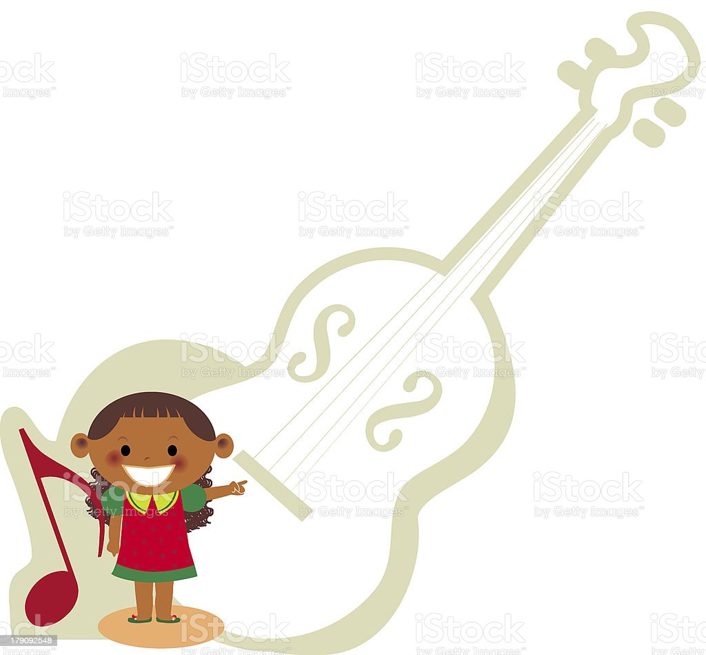 young girl and a Cello royalty-free stock vector art