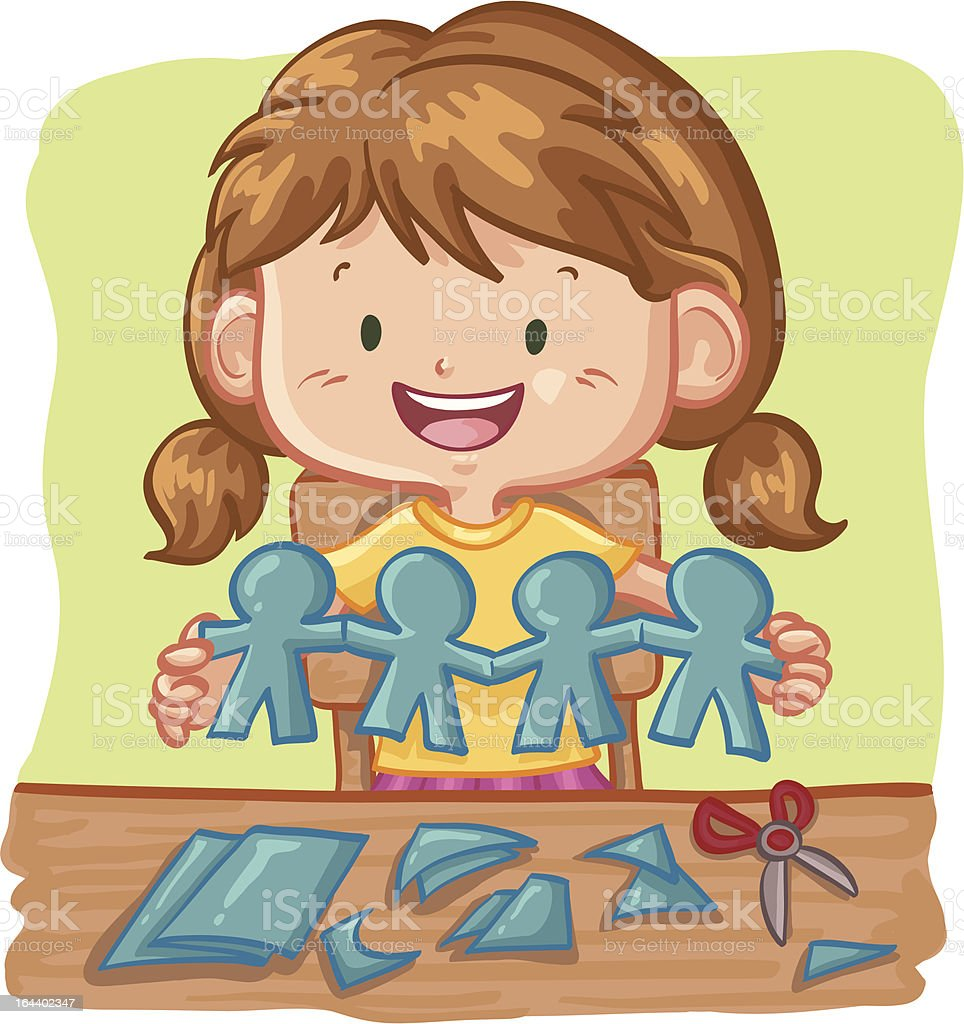 Young Girl Cutting Paper People Chain vector art illustration