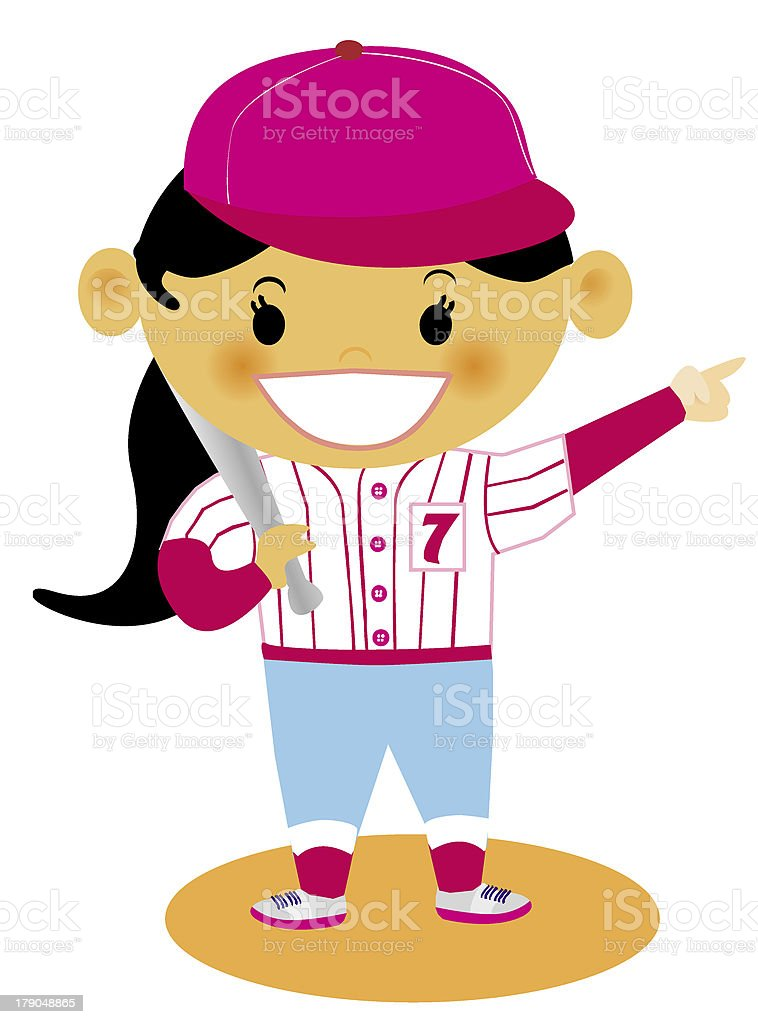 young girl dressed in her baseball uniform royalty-free stock vector art