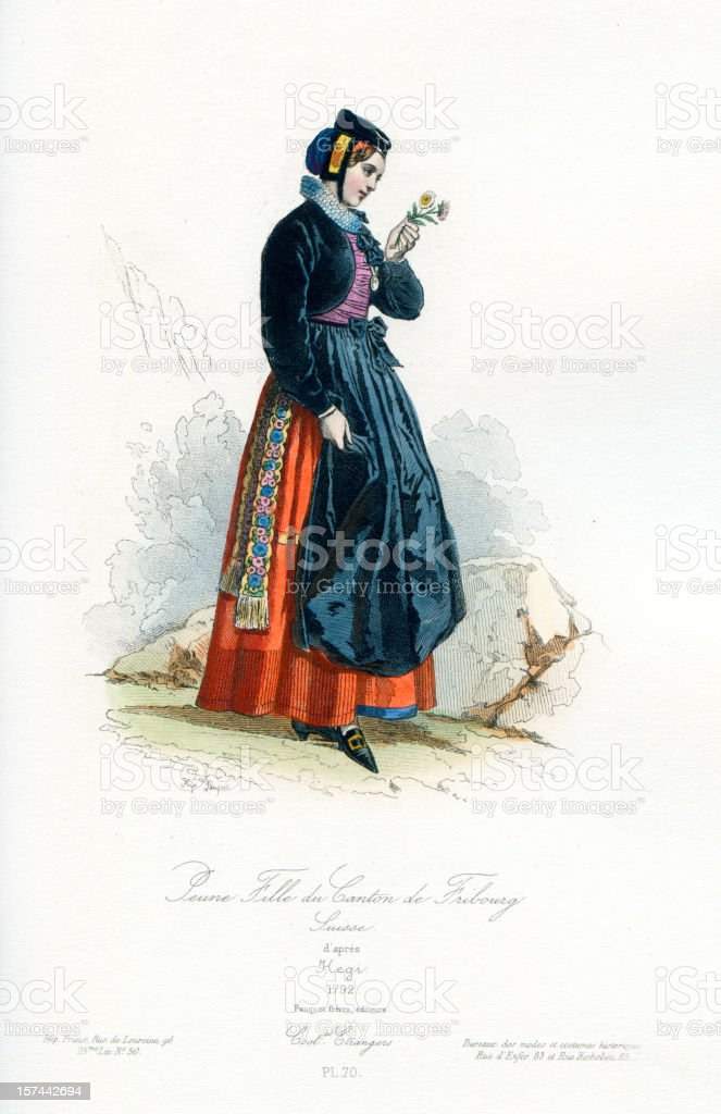 Young girl of Fribourg in traditional costume royalty-free stock vector art