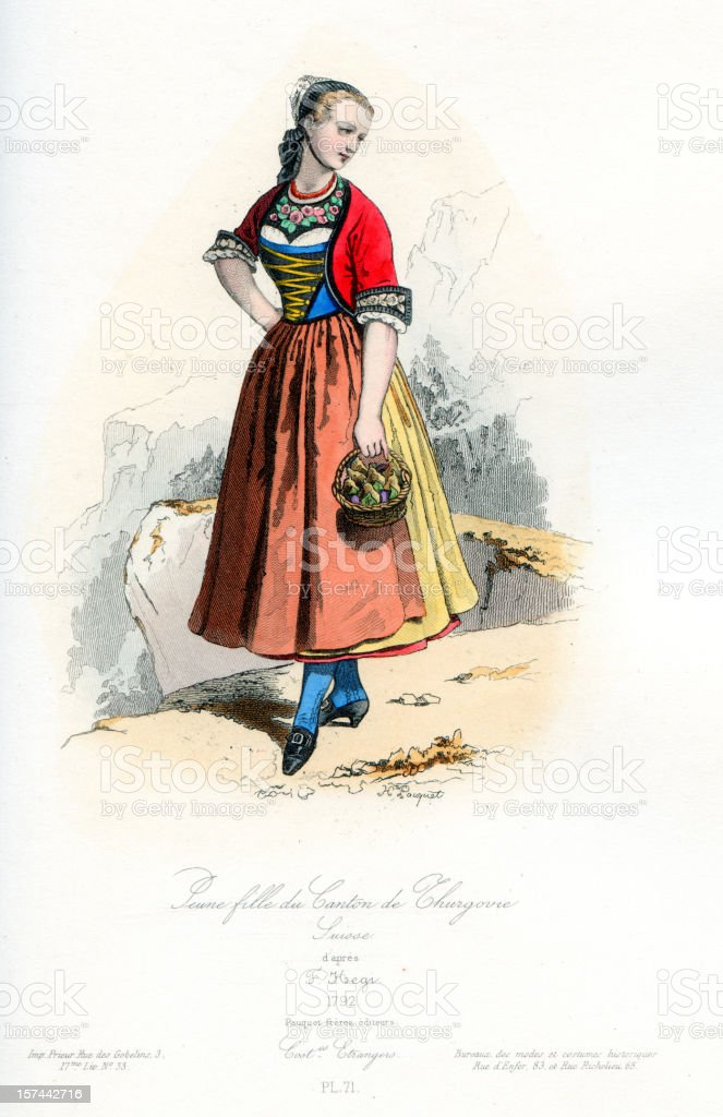 Young girl of Thurgau in traditional costume royalty-free stock vector art